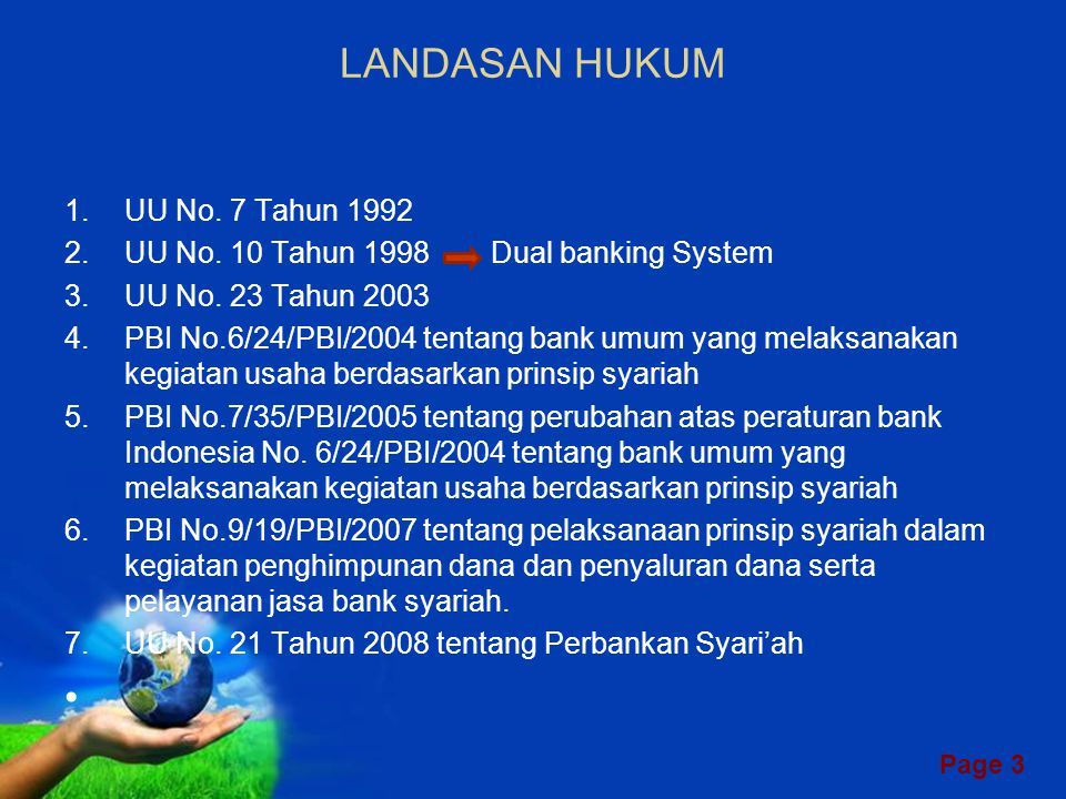 LANDASAN HUKUM UU No. 7 Tahun 1992