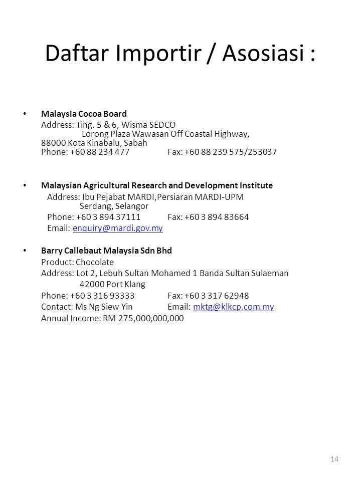 Daftar Importir / Asosiasi :