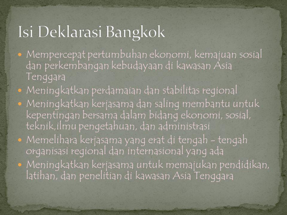 Isi Deklarasi Bangkok Mempercepat pertumbuhan ekonomi, kemajuan sosial dan perkembangan kebudayaan di kawasan Asia Tenggara.