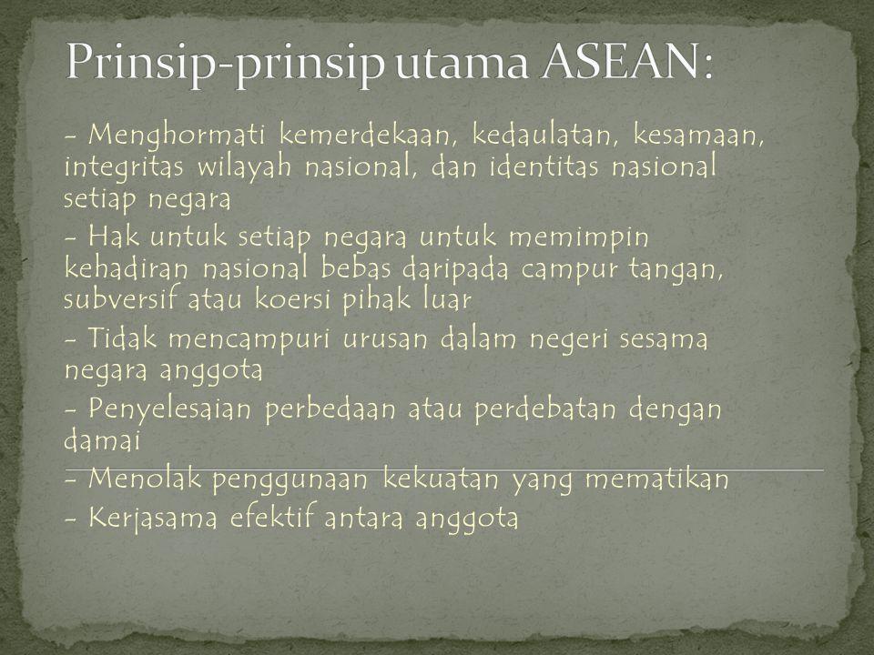 Prinsip-prinsip utama ASEAN: