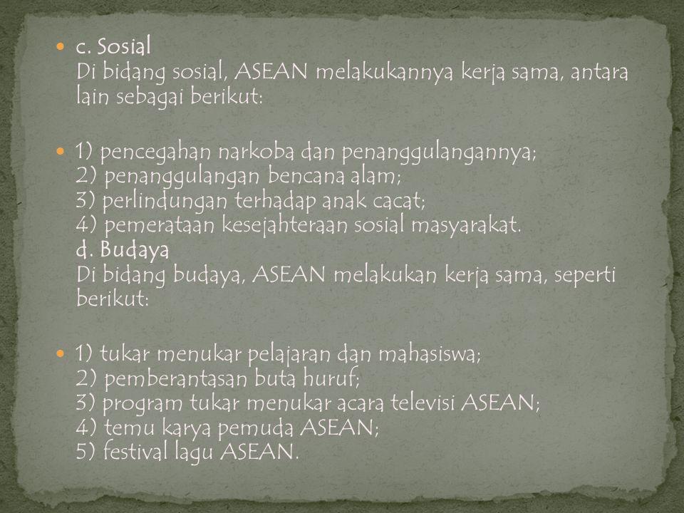 c. Sosial Di bidang sosial, ASEAN melakukannya kerja sama, antara lain sebagai berikut: