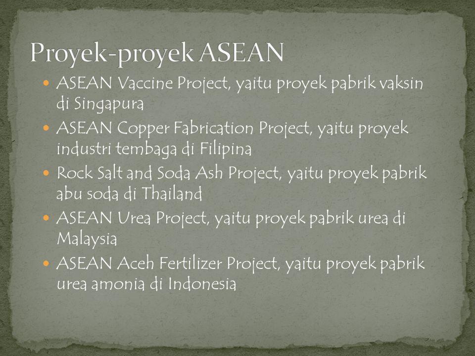 Proyek-proyek ASEAN ASEAN Vaccine Project, yaitu proyek pabrik vaksin di Singapura.