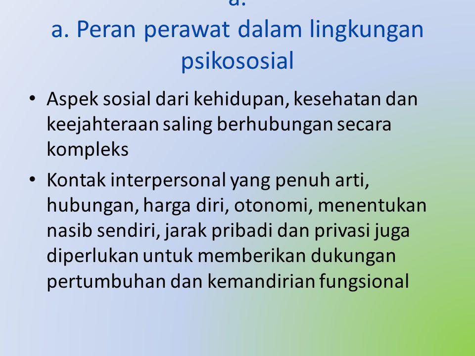 a. a. Peran perawat dalam lingkungan psikososial