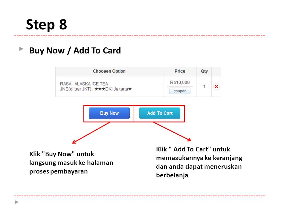Step 8 Buy Now / Add To Card