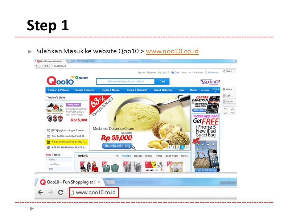 Silahkan Masuk ke website Qoo10 > www.qoo10.co.id