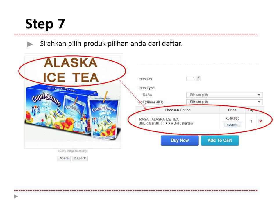 Step 7 Silahkan pilih produk pilihan anda dari daftar.