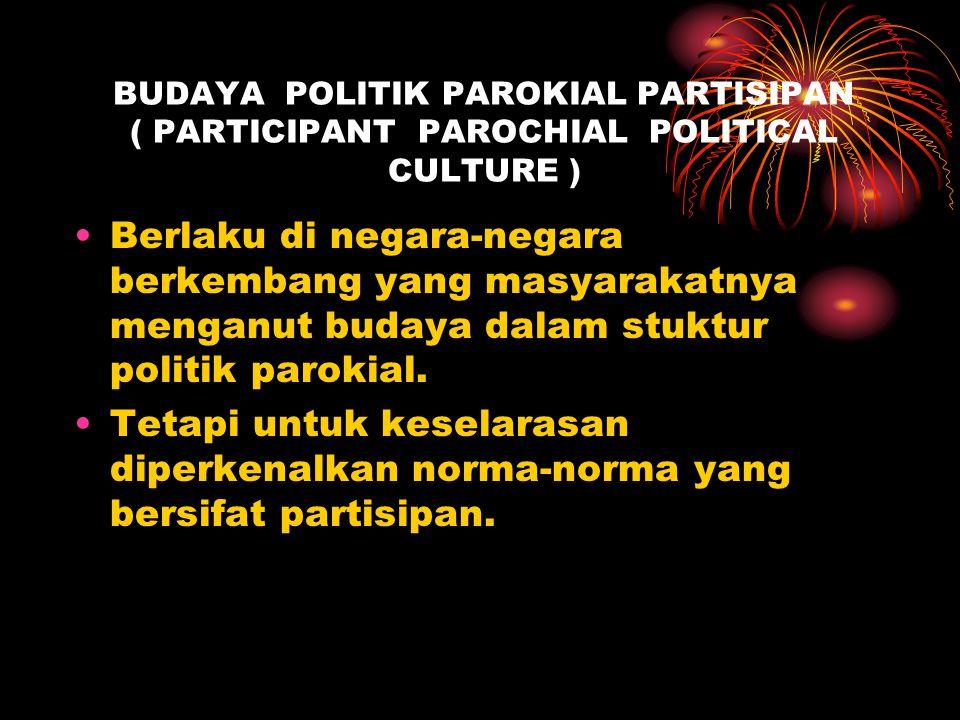 BUDAYA POLITIK PAROKIAL PARTISIPAN ( PARTICIPANT PAROCHIAL POLITICAL CULTURE )