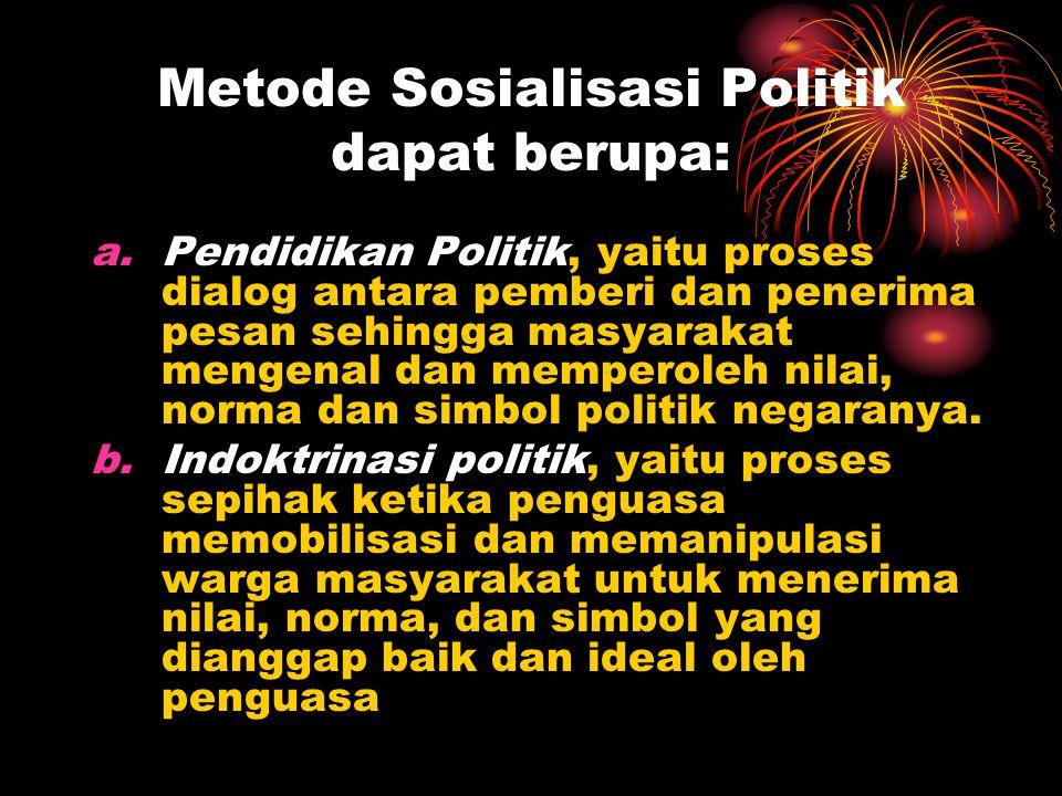 Metode Sosialisasi Politik dapat berupa: