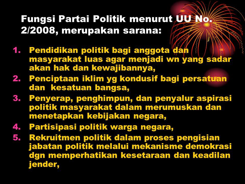 Fungsi Partai Politik menurut UU No. 2/2008, merupakan sarana: