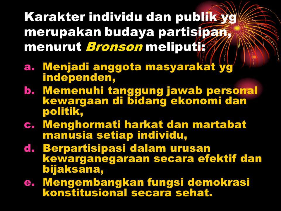 Karakter individu dan publik yg merupakan budaya partisipan, menurut Bronson meliputi: