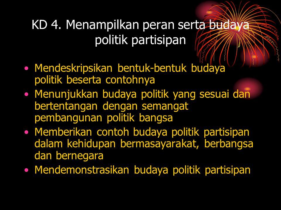 KD 4. Menampilkan peran serta budaya politik partisipan