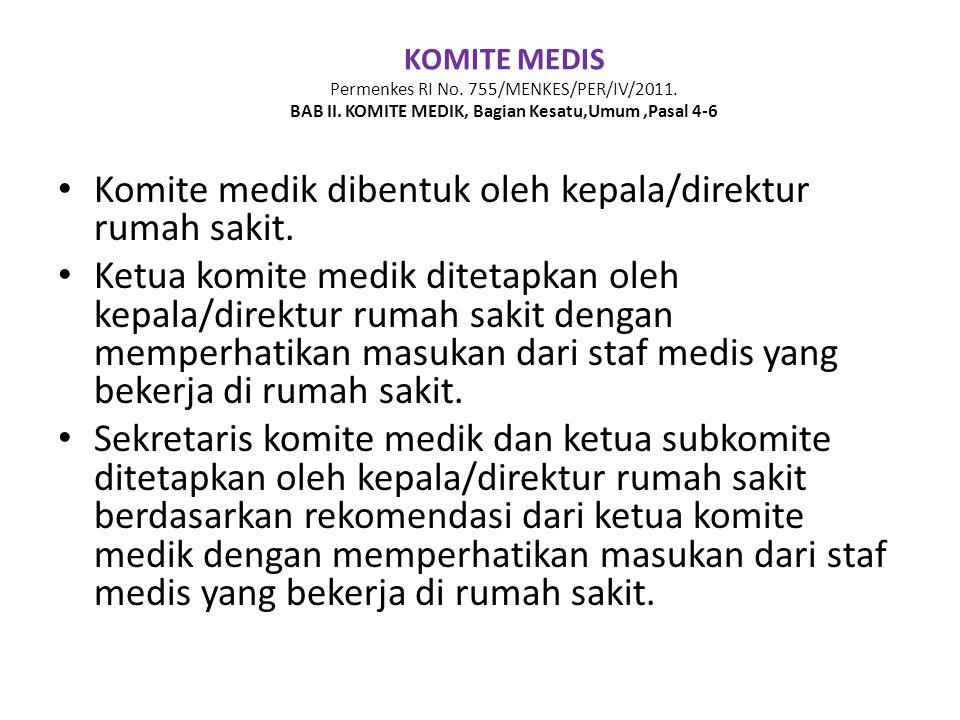 Komite medik dibentuk oleh kepala/direktur rumah sakit.