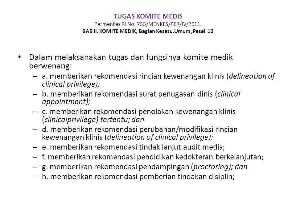Dalam melaksanakan tugas dan fungsinya komite medik berwenang: