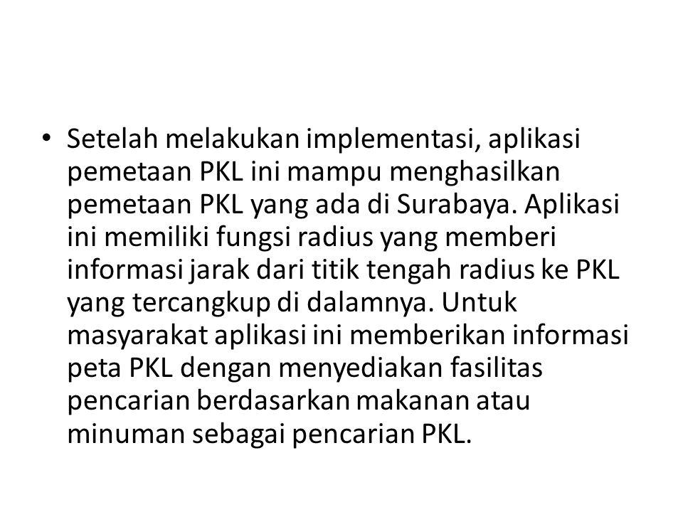 Setelah melakukan implementasi, aplikasi pemetaan PKL ini mampu menghasilkan pemetaan PKL yang ada di Surabaya.