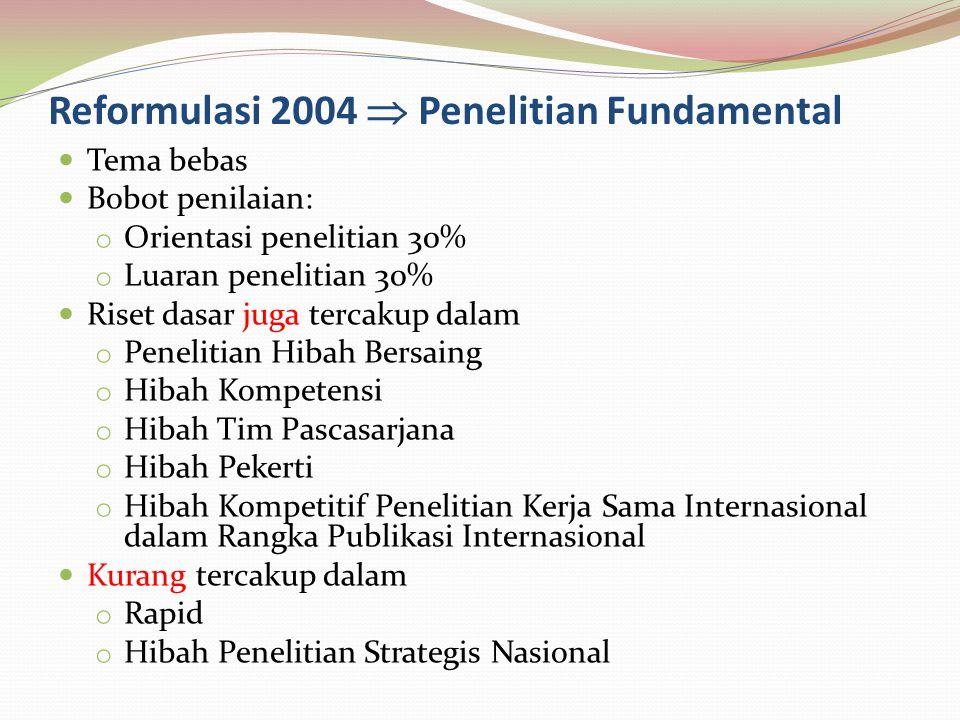Reformulasi 2004  Penelitian Fundamental