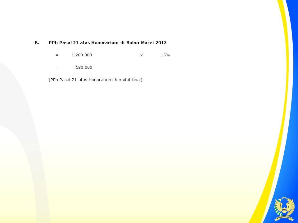 B. PPh Pasal 21 atas Honorarium di Bulan Maret 2013.