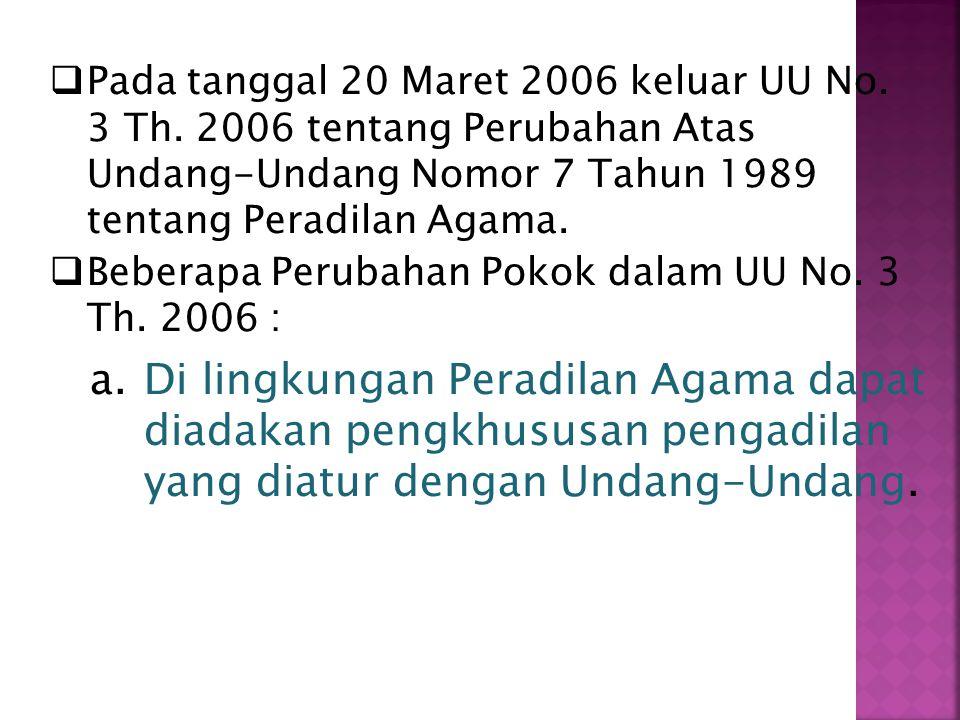 Pada tanggal 20 Maret 2006 keluar UU No. 3 Th