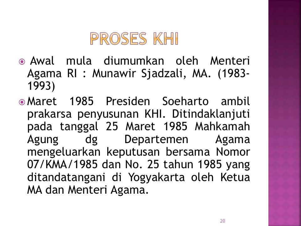 Proses KHI Awal mula diumumkan oleh Menteri Agama RI : Munawir Sjadzali, MA. (1983- 1993)