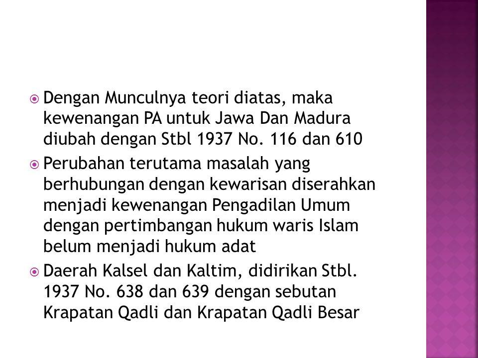 Dengan Munculnya teori diatas, maka kewenangan PA untuk Jawa Dan Madura diubah dengan Stbl 1937 No. 116 dan 610