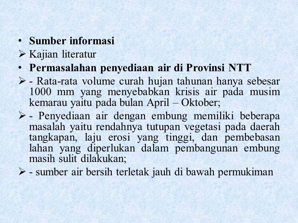 Sumber informasi Kajian literatur. Permasalahan penyediaan air di Provinsi NTT.