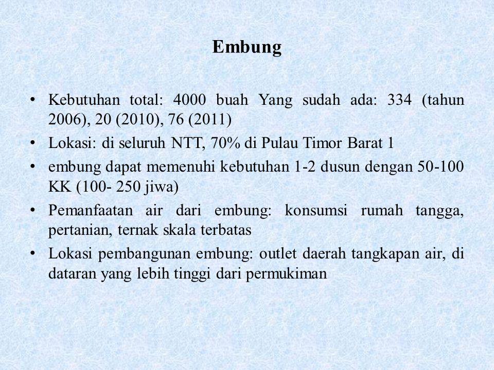Embung Kebutuhan total: 4000 buah Yang sudah ada: 334 (tahun 2006), 20 (2010), 76 (2011) Lokasi: di seluruh NTT, 70% di Pulau Timor Barat 1.