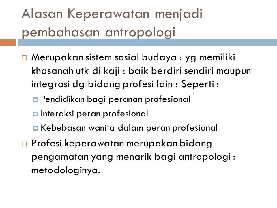 Alasan Keperawatan menjadi pembahasan antropologi