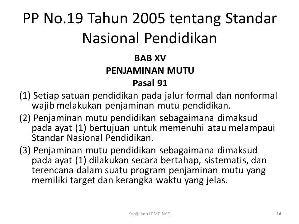 PP No.19 Tahun 2005 tentang Standar Nasional Pendidikan