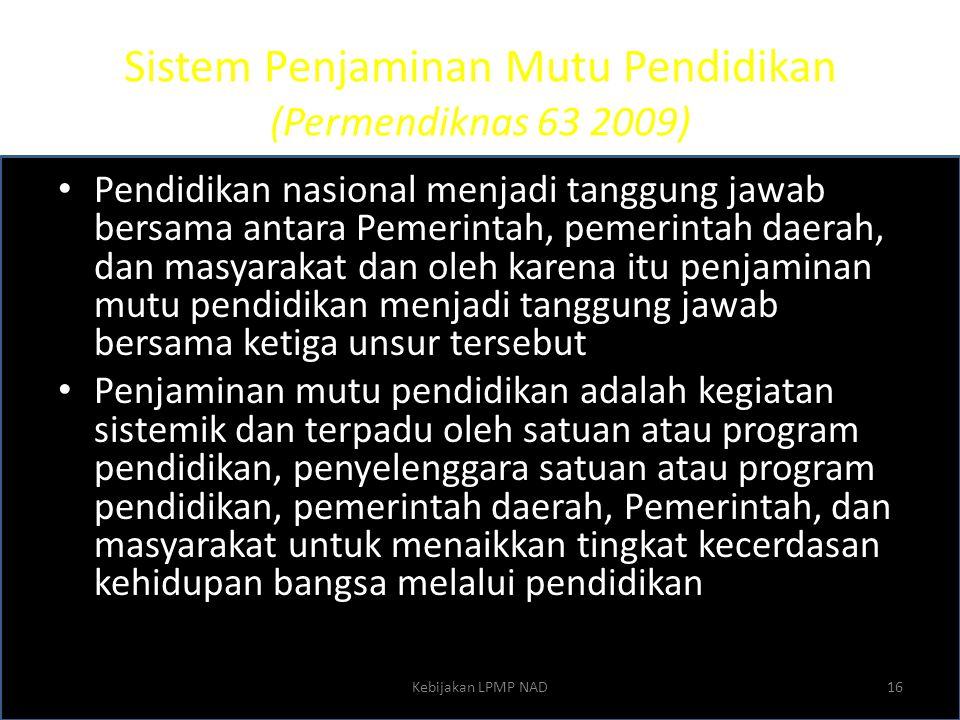 Sistem Penjaminan Mutu Pendidikan (Permendiknas 63 2009)