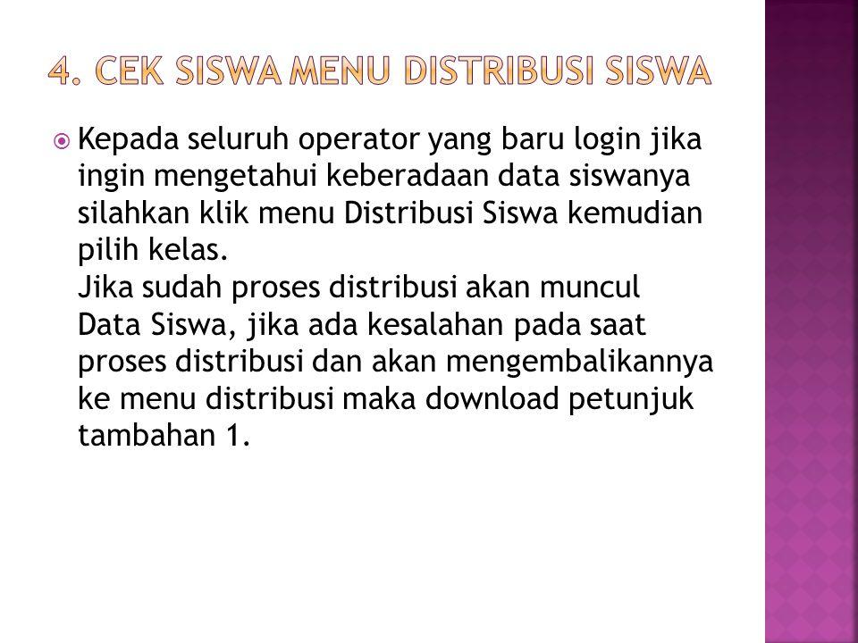 4. Cek siswa menu Distribusi Siswa