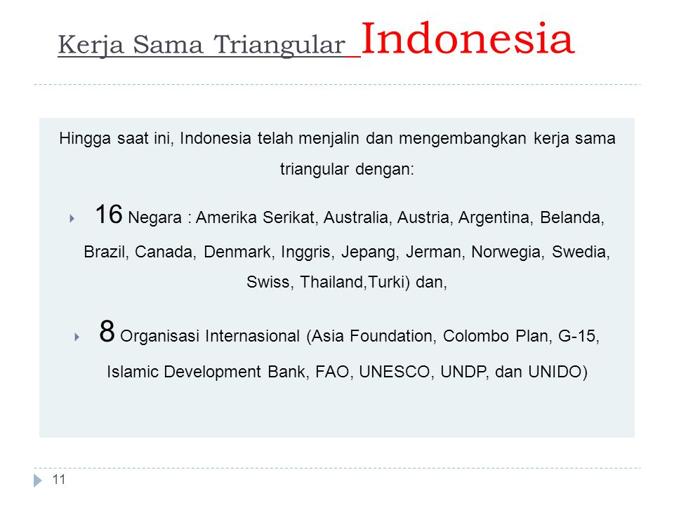 Kerja Sama Triangular Indonesia