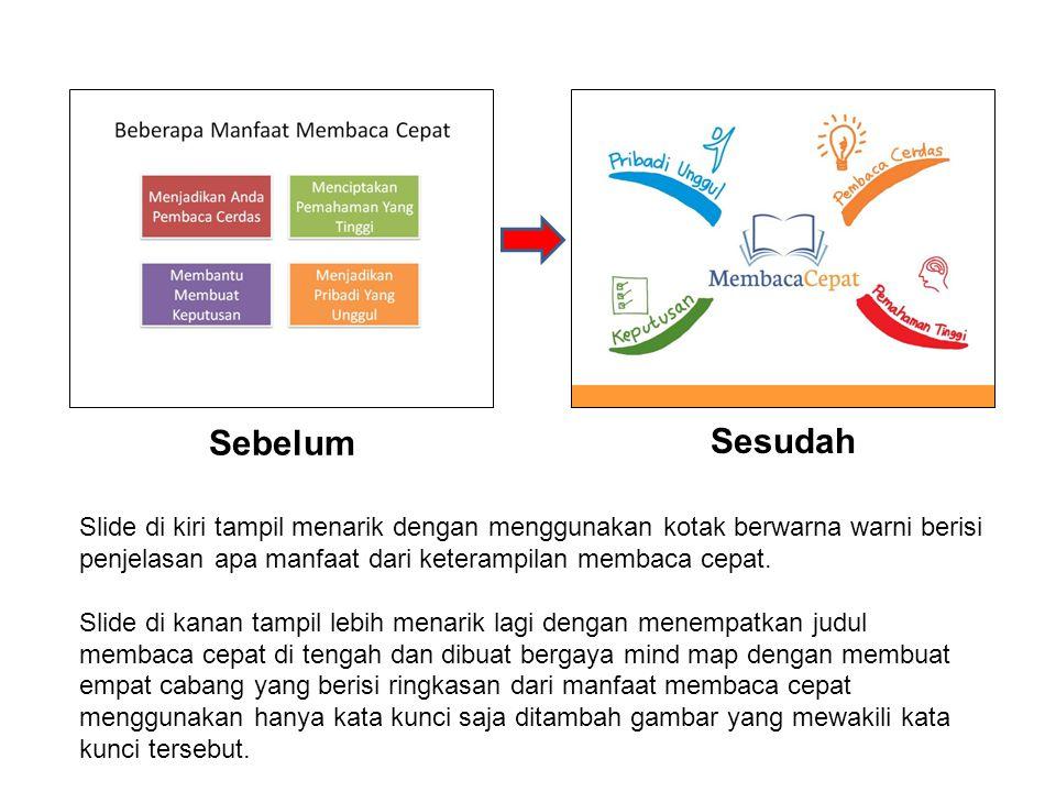Sebelum Sesudah. Slide di kiri tampil menarik dengan menggunakan kotak berwarna warni berisi penjelasan apa manfaat dari keterampilan membaca cepat.