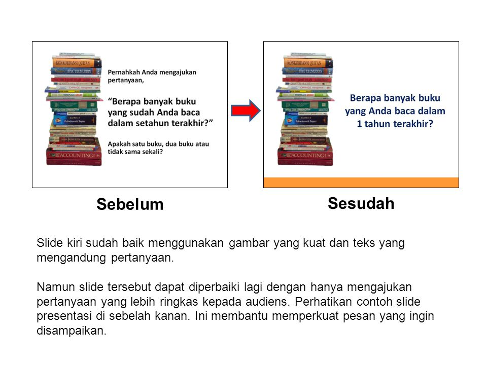 Sebelum Sesudah. Slide kiri sudah baik menggunakan gambar yang kuat dan teks yang mengandung pertanyaan.