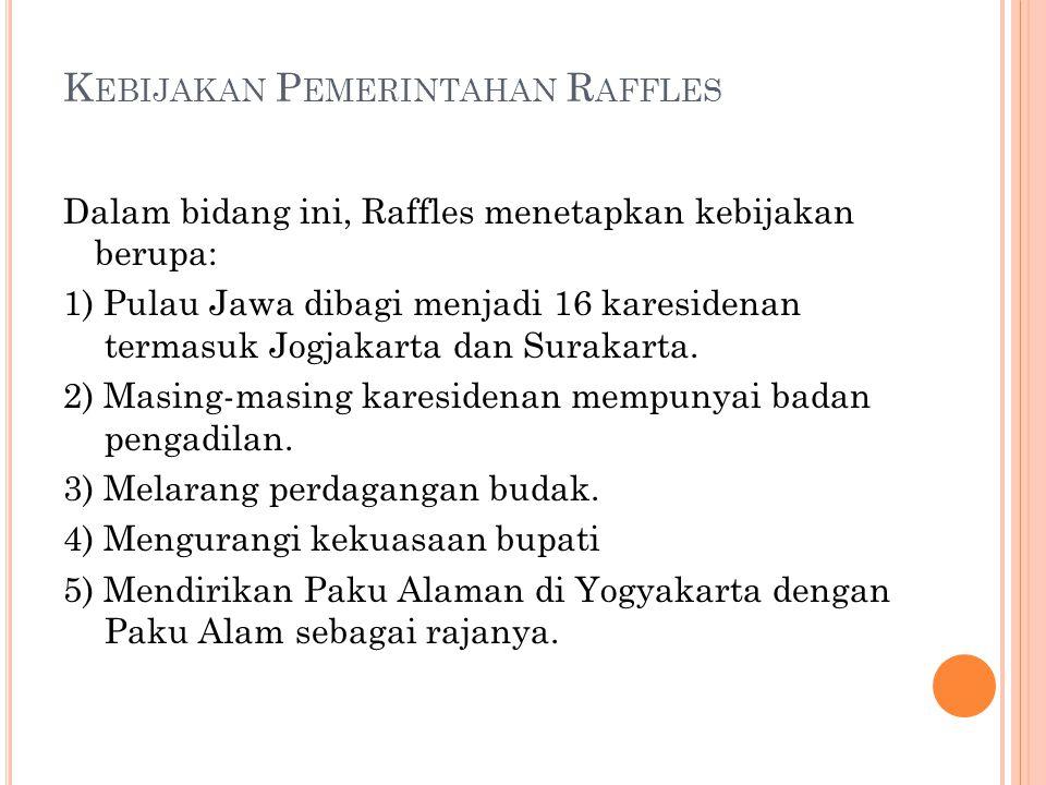 Kebijakan Pemerintahan Raffles