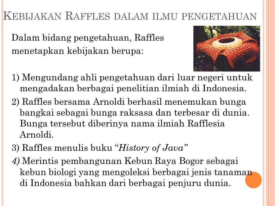 Kebijakan Raffles dalam ilmu pengetahuan