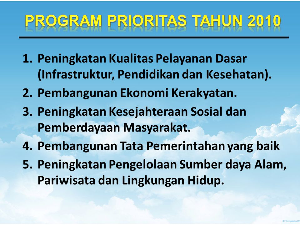 PROGRAM PRIORITAS TAHUN 2010