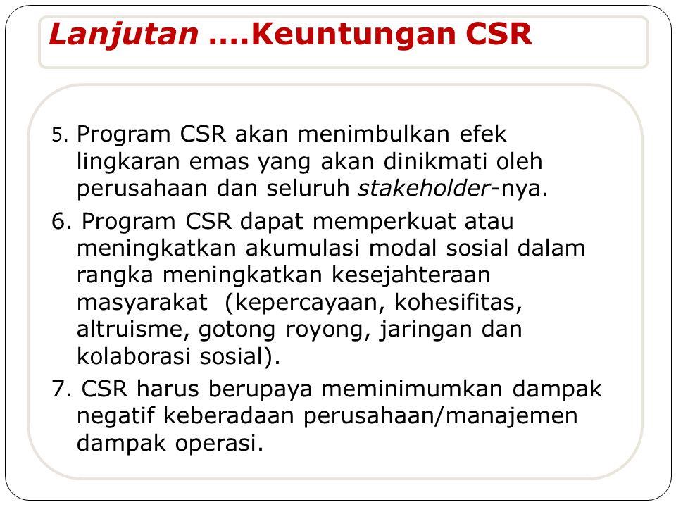 Lanjutan ….Keuntungan CSR