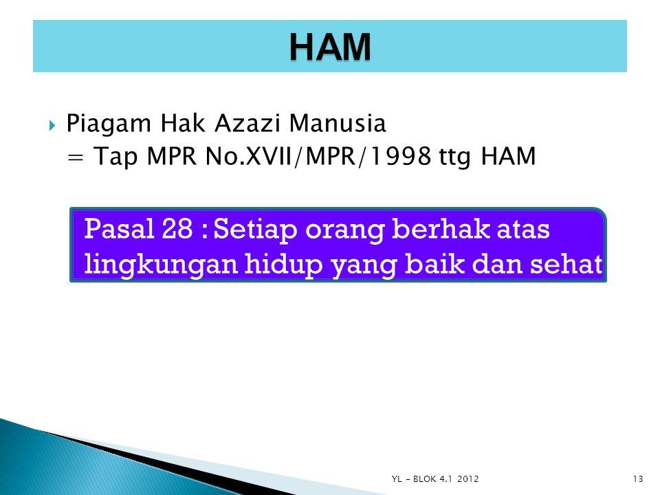 HAM Piagam Hak Azazi Manusia. = Tap MPR No.XVII/MPR/1998 ttg HAM. Pasal 28 : Setiap orang berhak atas lingkungan hidup yang baik dan sehat.