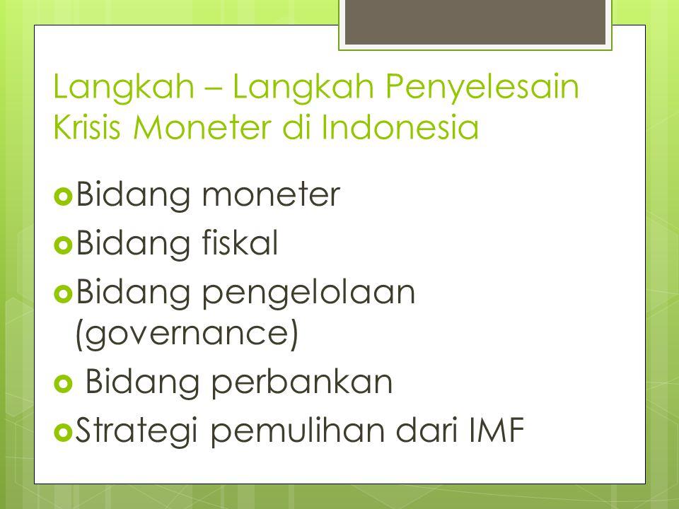 Langkah – Langkah Penyelesain Krisis Moneter di Indonesia