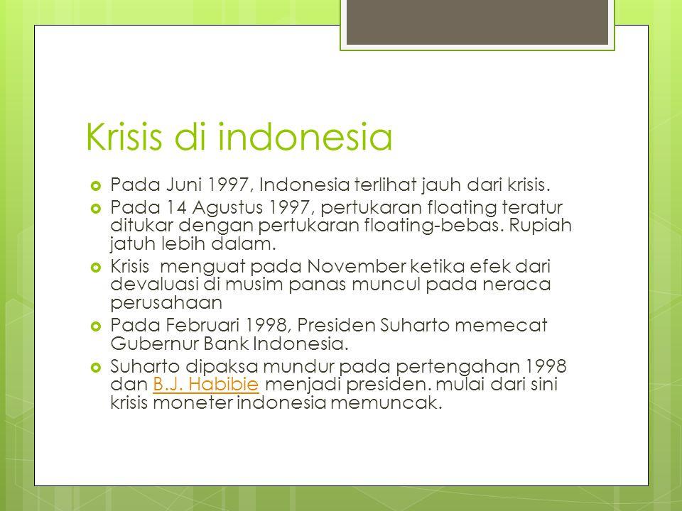 Krisis di indonesia Pada Juni 1997, Indonesia terlihat jauh dari krisis.