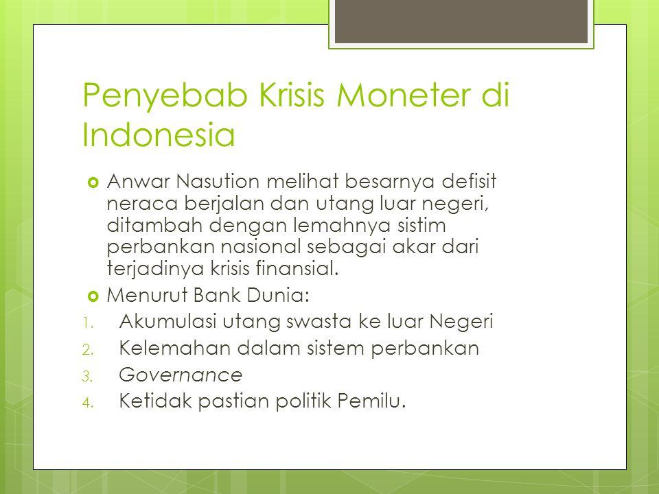 Penyebab Krisis Moneter di Indonesia