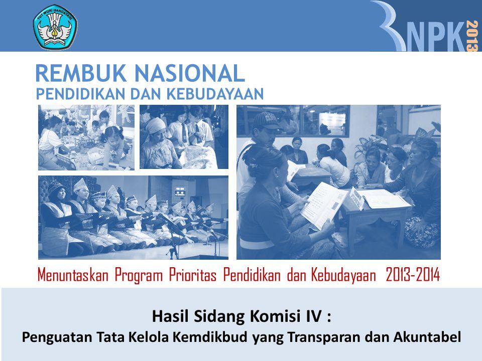 REMBUK NASIONAL Hasil Sidang Komisi IV :