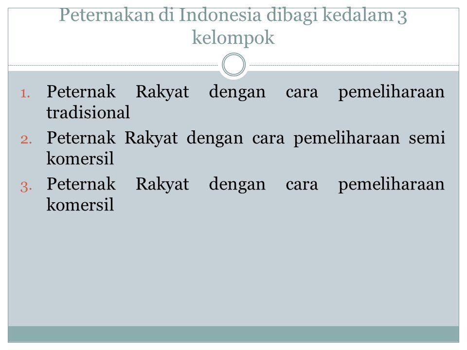 Peternakan di Indonesia dibagi kedalam 3 kelompok