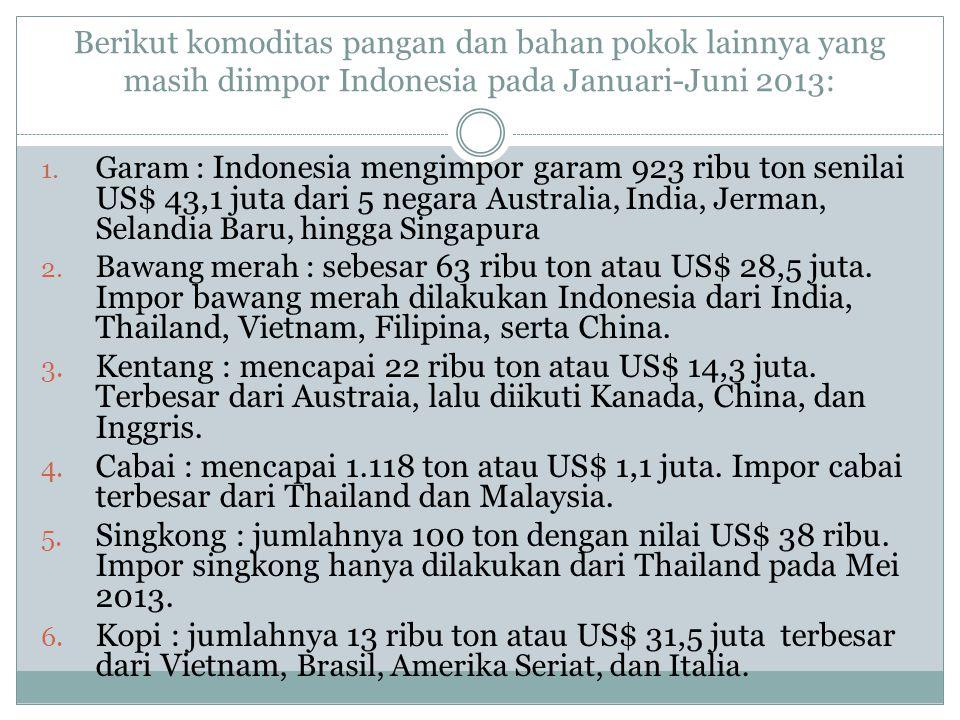 Berikut komoditas pangan dan bahan pokok lainnya yang masih diimpor Indonesia pada Januari-Juni 2013:
