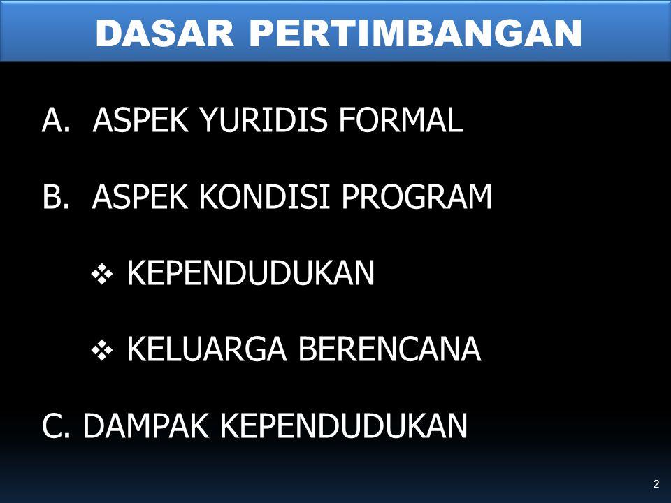 DASAR PERTIMBANGAN A. ASPEK YURIDIS FORMAL B. ASPEK KONDISI PROGRAM