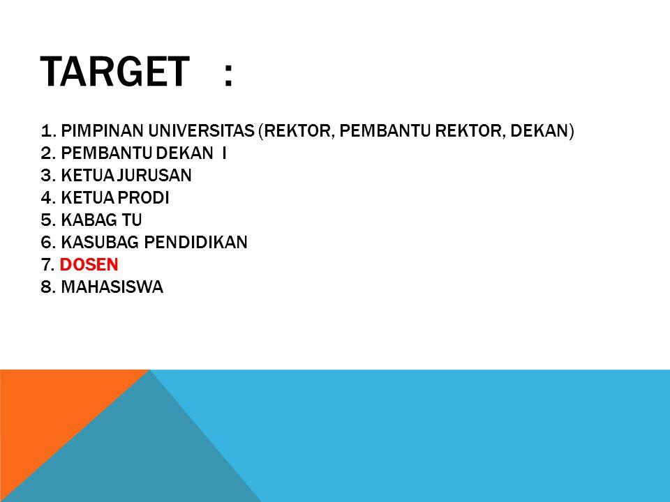 Target : 1. Pimpinan Universitas (Rektor, Pembantu Rektor, Dekan) 2