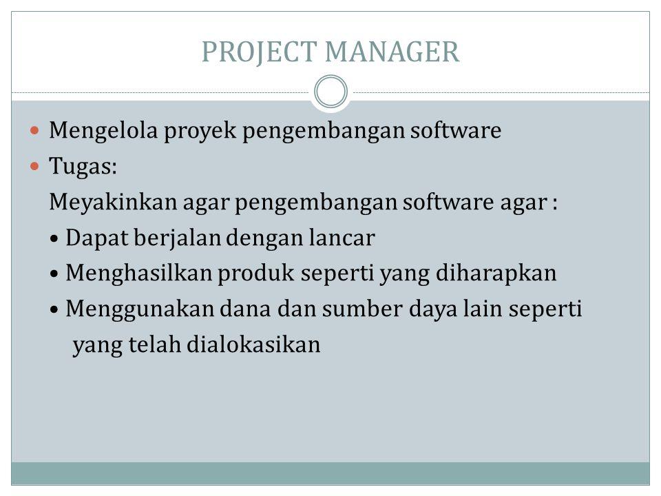 PROJECT MANAGER Mengelola proyek pengembangan software Tugas: