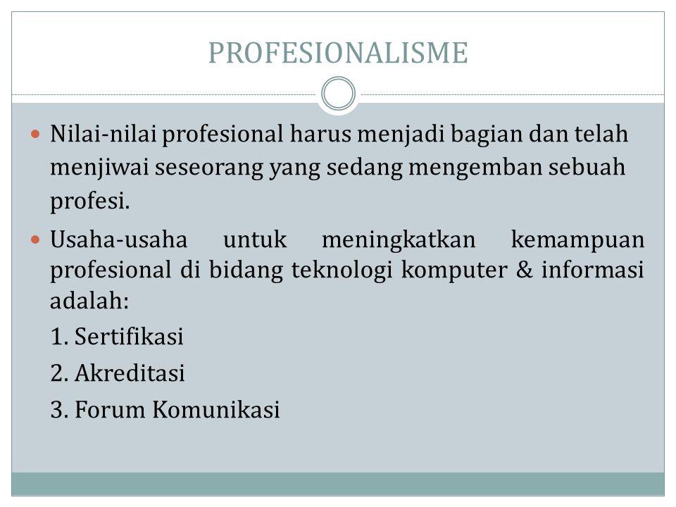 PROFESIONALISME Nilai-nilai profesional harus menjadi bagian dan telah menjiwai seseorang yang sedang mengemban sebuah profesi.
