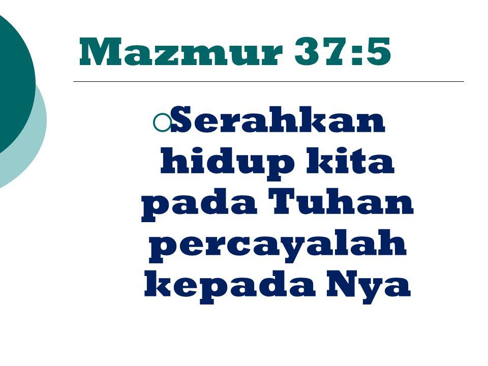 Serahkan hidup kita pada Tuhan percayalah kepada Nya