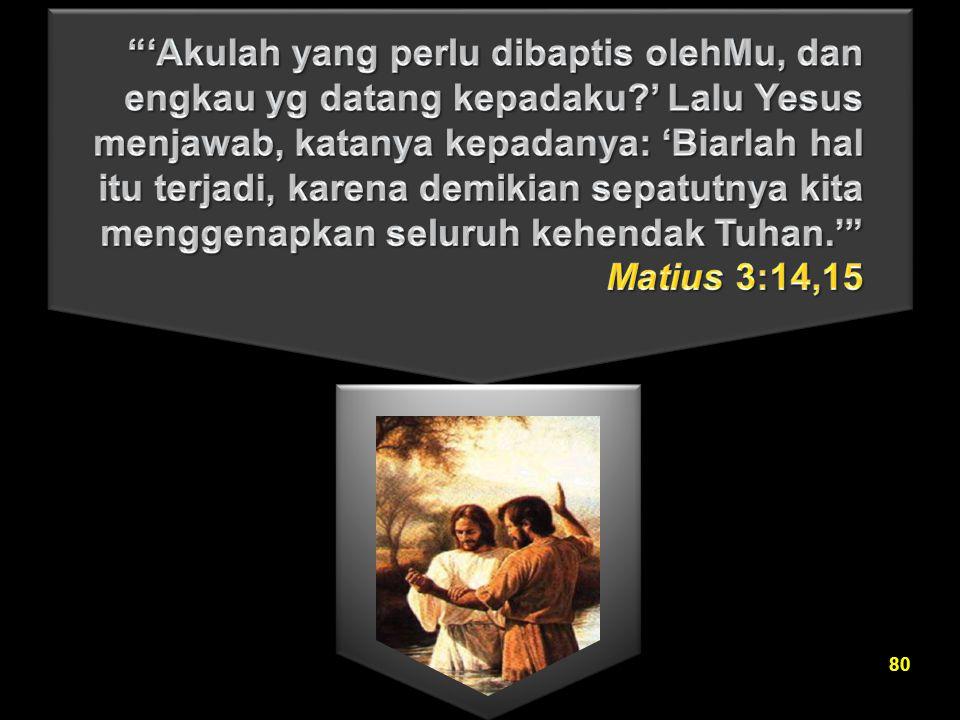 'Akulah yang perlu dibaptis olehMu, dan engkau yg datang kepadaku