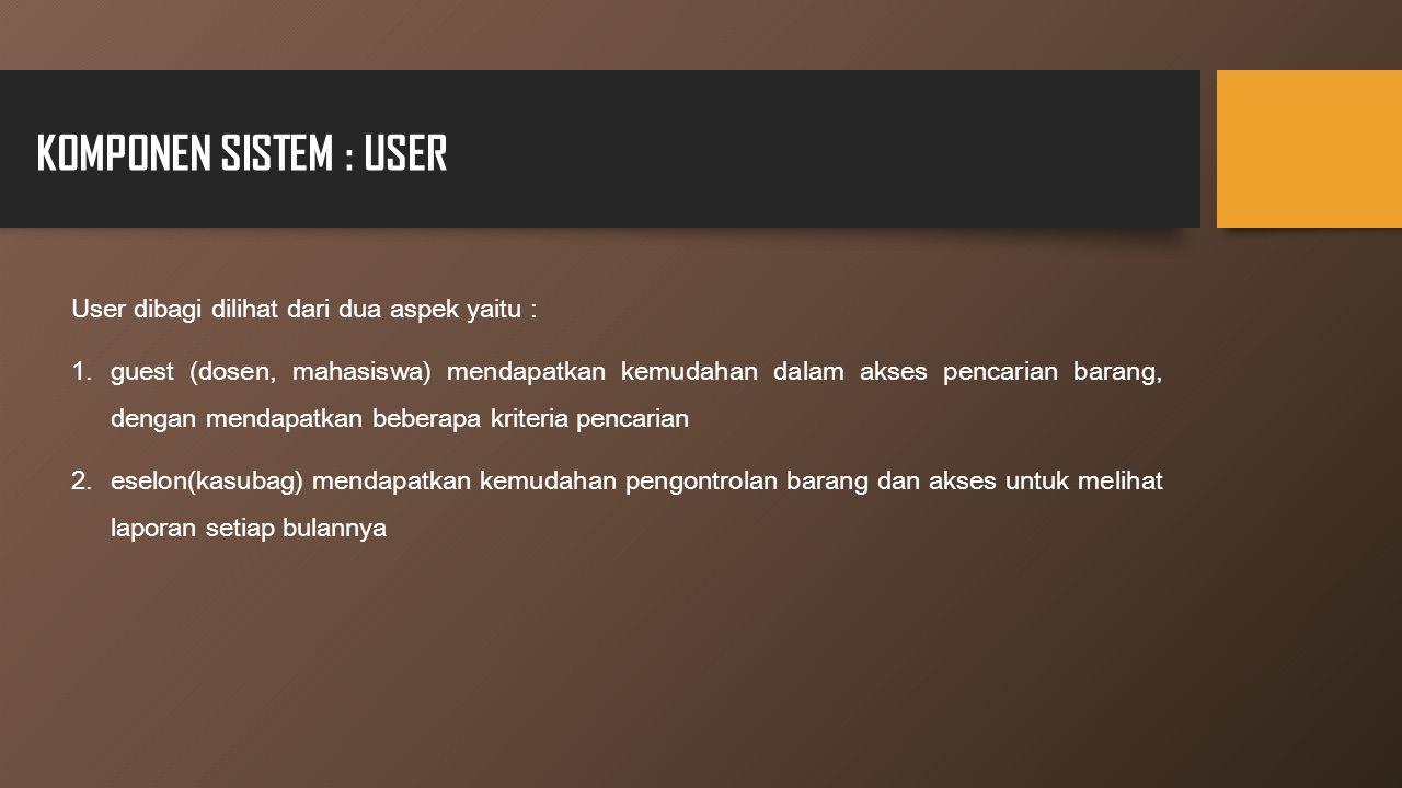 KOMPONEN SISTEM : USER User dibagi dilihat dari dua aspek yaitu :